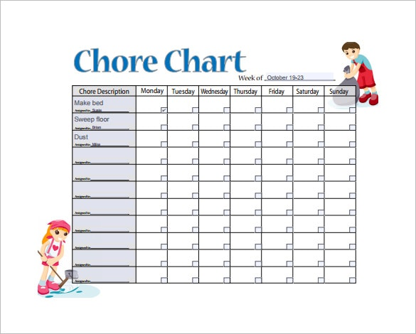 list of household chores
